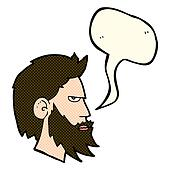 cartoon man with beard with speech bubble