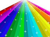 Abstract rainbow with star background