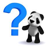 3d Baby panda bear with a question mark