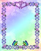 Wedding invitation border butterflies