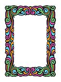 Cute Swirly Frame of Colorful Retro Swirls