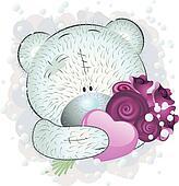 Blue teddy bear with roses
