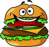 Happy cartoon hamburger with smiley face