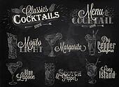 Set of cocktail menu chalk