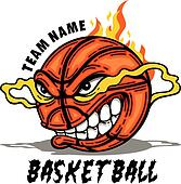 basketball with cartoon face