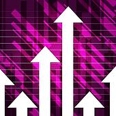 Purple Arrows Show Upwards Increase And Growth