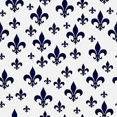 Navy Blue and White Fleur-de-lis Pattern Repeat Background
