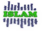 3d image Islam concept word cloud background