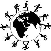 International global symbol people run around the world