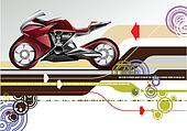 Abstract hi-tech background with bike image. Vector