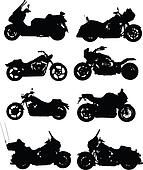 Eight vector illustrations of motorcycle. Vector. One click color change
