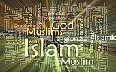 Islam word cloud glowing