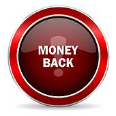 money back red circle glossy web icon, round button with metallic border