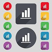 Growth and development concept. graph of Rate icon sign. A set of 12 colored buttons and a long shadow. Flat design.