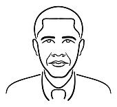 Barack Obama line drawing