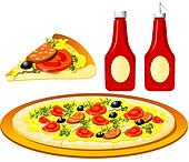 Food series - Italian - pizza and ketchup