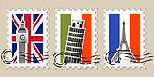 Three Postmarks with sights of Europe and stamps