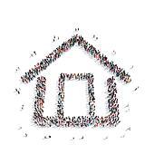 group  people  shape  house