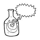 cartoon snake, in bottle