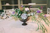 flower composition on a wedding table