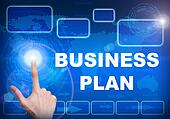 Touch screen digital interface of business plan concept
