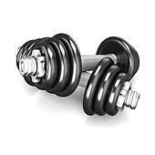 Two black dumbbells on white background