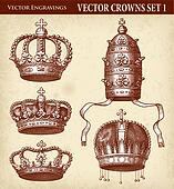 Vector Antique Crown Illustrations