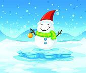 A snowman wearing Santa's red hat
