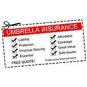 Umbrella Insurance Coupon Concept