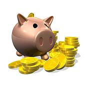 3d render piggy bank and coins illustration
