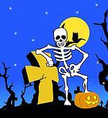 Halloween skeleton with cross
