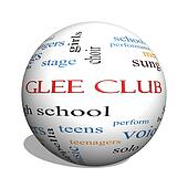 Glee Club 3D sphere Word Cloud Concept