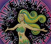 Girl on a damaged mosaic