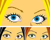 colourful eyes and hair