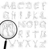 girls alphabet line art