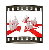 3d doctor and arrows. The film strip