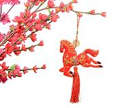 chinese horse knot on white background, 2014 is year of the horse