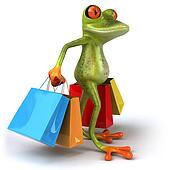 Fun frog with shopping bags