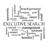 Executive Search Word Cloud Concept in black and white