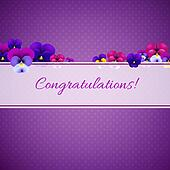 Congratulations Card With Pansies