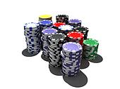 multicolor poker chips