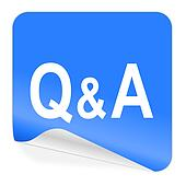 question answer blue sticker icon