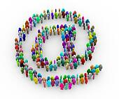 3d colorful people at email sign symbol
