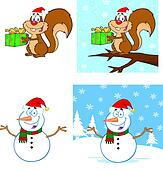 Christmas Squirrel and Snowman