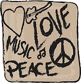 grunge Peace, Love and Music