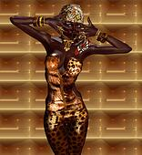African Woman in Leopard Print