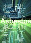 Asbestos word cloud glowing