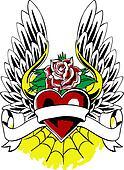 Heraldic Heart Wing Tattoo Emblem