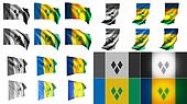st vincent & the grenadines  flags waving styles small size set