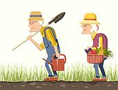 Elder couple gardeners